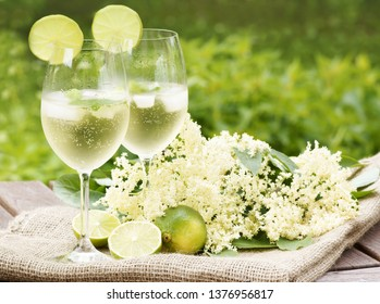 "Cocktail ""Hugo"" with elderflowers in garden, copy space"