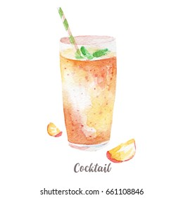 cocktail illustration. Hand drawn watercolor on white background.