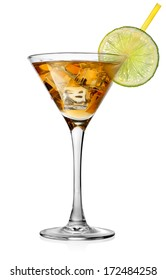 Cocktail with lime in glass isolated on white
