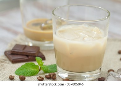 Cocktail with liqueur, cream and ice