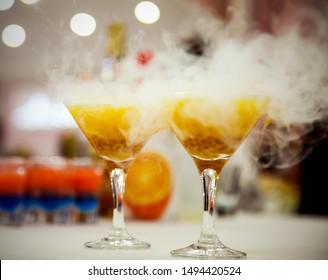 cocktail with liquid nitrogen, yellow