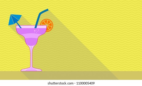 cocktail with long shadow, background with waves, pastel colors, concept of summer or party, copy space, flat cartoon style