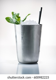 Cocktail Mint julep classically served in frozen metal cup