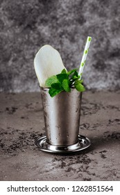 Cocktail Mint julep with ice isolated on white background