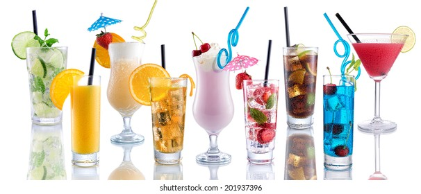 Cocktail Mix, many many cocktails next to each other on isolated white