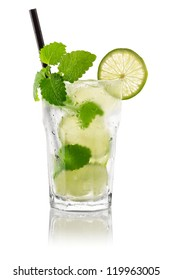 Cocktail mojito in front of white background