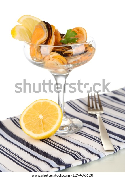 Cocktail of mussels in vase isolated on white