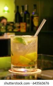 Cocktail on a bar table