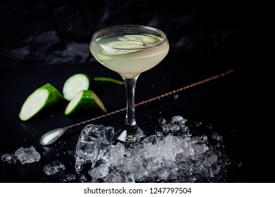 cocktail on black background