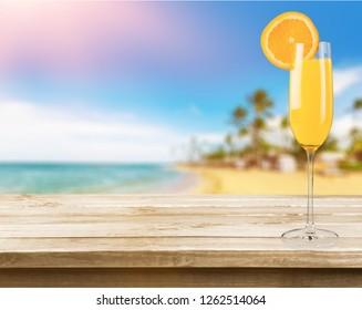 Cocktail orange drink on desk