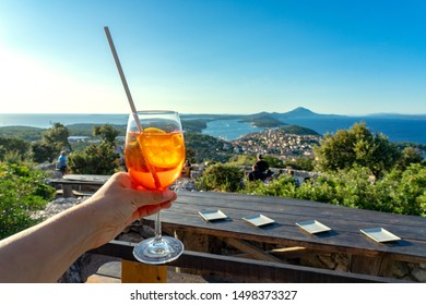 cocktail with scenic view of the croatian losinj islands in the kvarner gulf daytime