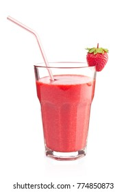 Cocktail smoothie with juicy strawberry, isolated on white background.