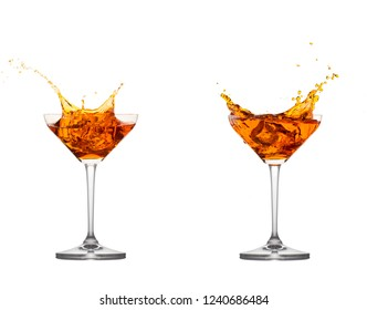 Cocktail splash collection in a row isolated on white background.