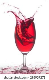 cocktail splashing isolated on a white background