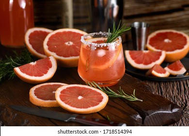 Cocktail tequila fresh grapefruit juice combined and rosemary. A festive drink is ideal for brunch, parties and holidays.