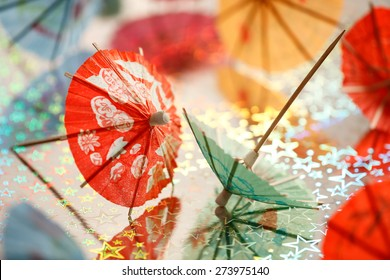 Cocktail umbrellas background