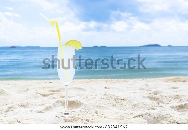 cocktail,lemonade on sea background