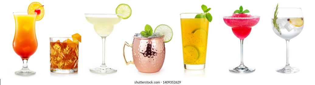 cocktails collection isolated on white background