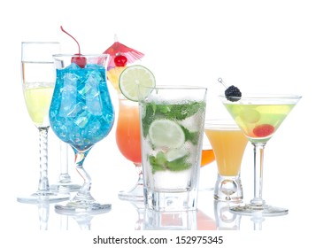 Cocktails drinks beverages Blue lagoon, mojito, tropical Martini, tequila sunrise, margarita, champagne and cognac glass, cocktail umbrella, cherry, lime and pineapple on white background
