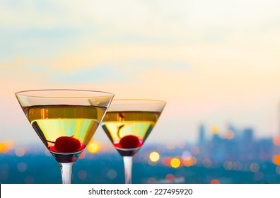 Cocktails glasses with a luxurious view
