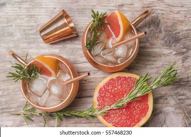 Cocktails with grapefruit ginger, vodka and rosemary