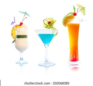 Cocktails isolated on white background. Set of tropical alcoholic drinks: Pina colada, Margarita and Tequila Sunrise