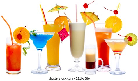 Cocktails isolated on white: Tequila Sunrise, Frozen Margarita, Screw-Driver, Pina Colada, B52, Malibu Punch, Daiquiri