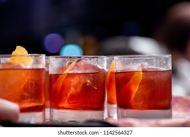 """Cocktails """"Negroni"""". Close-up. space. party with Negroni"""