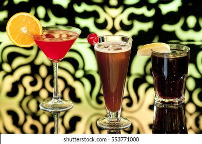 Cocktails on the colorful backgrounds