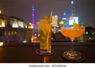 Cocktails On Shanghai Rooftop Bar