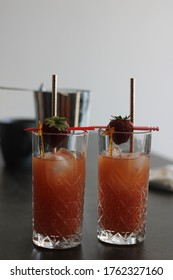 Cocktails Sex on the beach in a beautiful glasses with decorations and ice