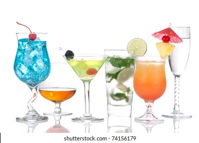 Cocktails variation. Blue Curacao hawaiian, mojito, sex on the beach, tequila sunrise, cognac, martini, tequila sunrise in cocktail glasses isolated on a white background