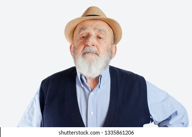 cocky old man isolated on white background