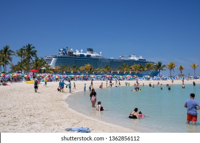 Coco Cay, Bahamas 6th April 2019: The famous Anthem of the Seas Quantum-class cruise liner ship by Royal Caribbean International, taken at the beatutful Coco Cay island in the Bahamas