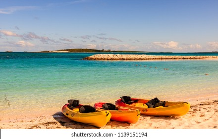 Coco Cay Island, Bahamas - December, 23, 2017. Kayaks on the luxury beach oasis in Coco Cay.