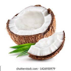 Coco. Coconut half and piece isolated. With leaves. Cocos white.