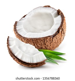Coco. Coconut half, piece and leaves isolated. Coconut on white background - Image