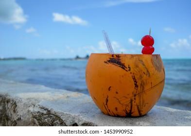 coco loco on the beach of san Andrés