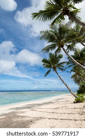 Coco Palm Garden Beach in Guam, USA. There are palm trees and white sand on the beach contiguous to the coral reef with transparent water.