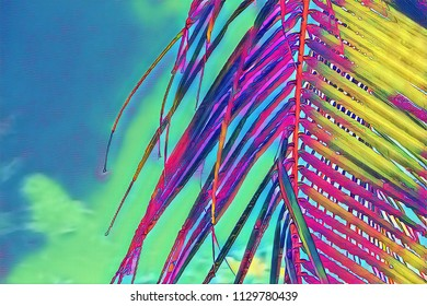 Coco palm leaf closeup on sky background. Neon palm leaf on  vibrant sky. Tropical vacation digital illustration. Summer banner template with text place. Fluffy coco palm leaf. Exotic island travel