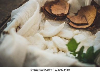 coco. shell of a coco and pulp of a coco. food background