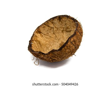 The coco without stuffing, is isolated on a white background, coconut empty