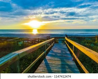 Cocoa Beach pier at Florida, Usa at sunset