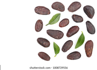 cocoa bean isolated on white background with copy space for your text. Top view. Flat lay