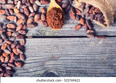 Cocoa beans . Ingredient for preparation chocolate