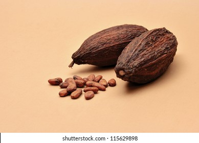 cocoa beans on a brown background