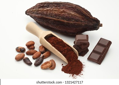 Cocoa beans, cocoa  pod  and scoop with powder, chocolate bar pieces isolated on white background