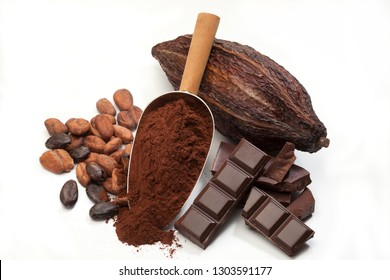 Cocoa beans pods, chocolate bar pieces, cocoa powder in a scoop isolated on white background