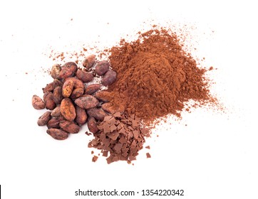 cocoa beans, cocoa powder and chocolate flakes isolated on white background