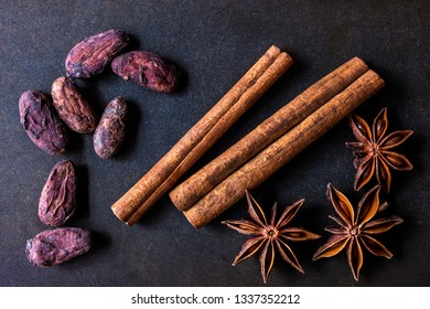 cocoa beans, star anise and cinnamon sticks